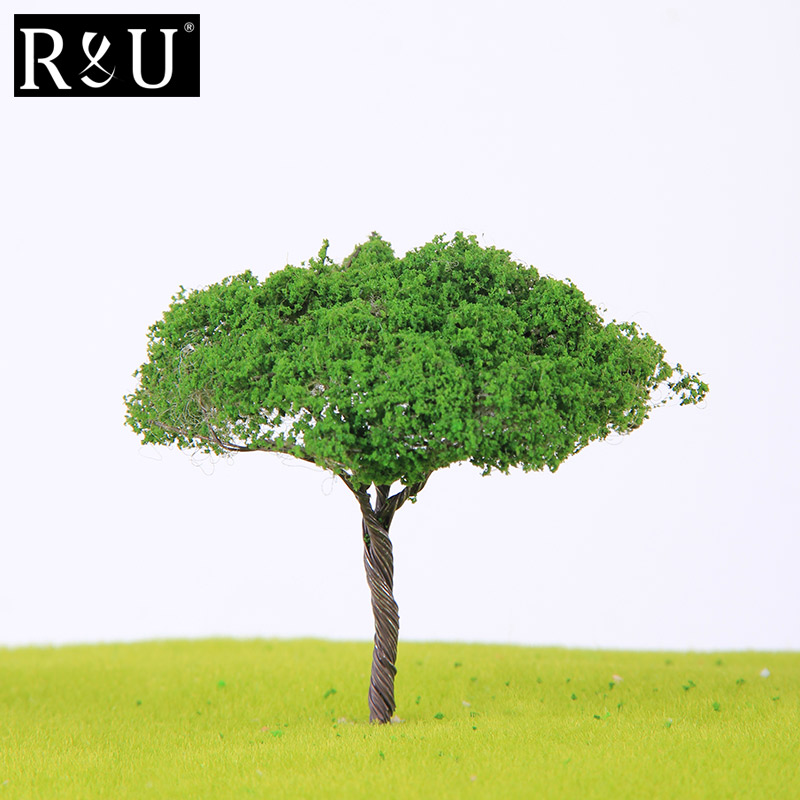 10PCS Diorama Model Green Trees For Miniature Train Ho Scale Railway Railtrain Wargames Scenery Dioramic Layout Diy Kit Supplies