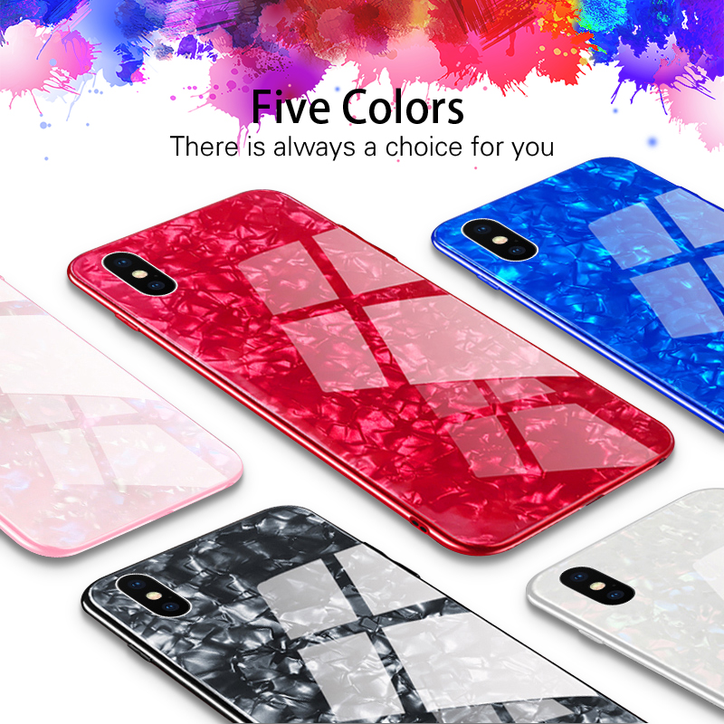 Glossy Bling Tempered glass Case For iPhone 8 7 6 6S Plus plating Soft Silicon For iPhone X Conch Shell Hard Back Cover Cases