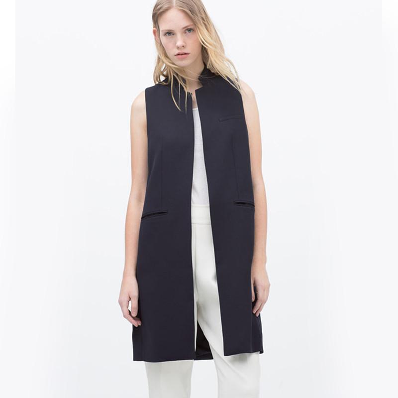White-Black-Long-Sleeveless-Blazer-2015-Autumn-Women-Vest-Stand-Collar-Pocket-Waistcoat-Casual-Jacket-Coat