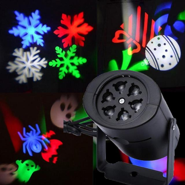 Colorful Christmas Projector Light Outdoor Holiday LED Stage Snowflake Projection Garden Decoration Pattern Cards EU Plug