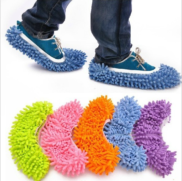 1pair 2pcs Dust Mop Slippers Microfiber Chenille Floor