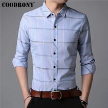 Coodrony camisa masculina outono nova chegada camisa de manga longa dos homens negócios camisas casuais moda listrado algodão masculina 96019