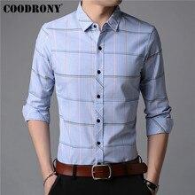 ¡Novedad de otoño! Camisa COODRONY para hombre, Camisa de manga larga, camisas informales de negocios para hombre, Camisa Masculina de algodón rayado a la moda 96019