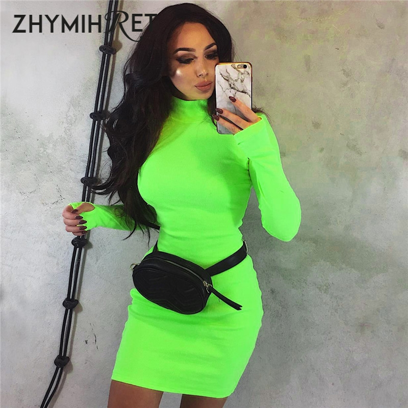 ZHYMIHRET 2019 Autumn Winter Long Sleeve Neon Color Dress Long Sleeve Skinny Mini Sexy Dress Party Ribbed Female Vestidos