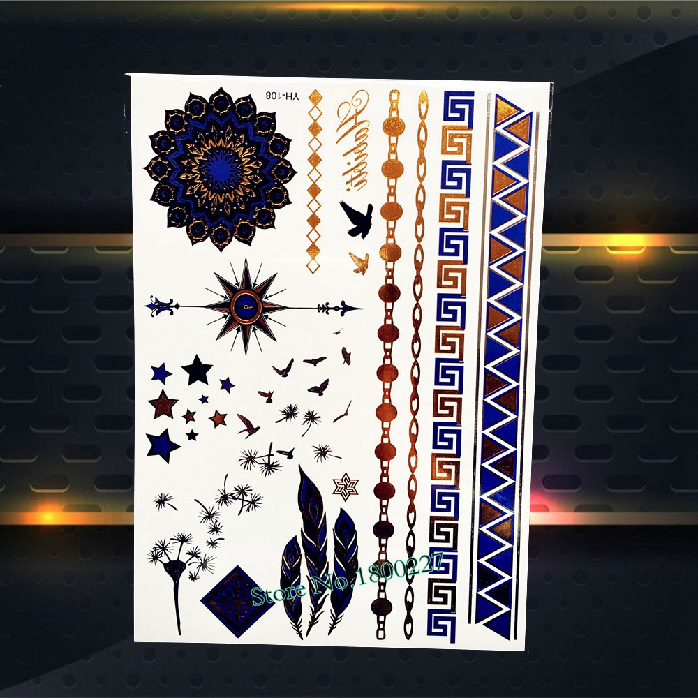 1PC Nontoxic Gold Blue Metallic Henna Tattoo Sun Flower Dandelion Feather Design Arm Leg Jewelry Temporary Tattoo Sticker PYH108