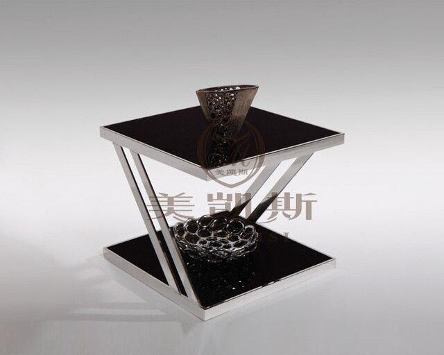 Theetafel Glas Chroom.Bijzettafel Glas Leitmotiv Tripple Swivel Bijzettafel Chrome With
