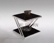 Закаленное стекло чайным столом .. нержавеющая сталь небольшой квадратный стол. диван столик. цветок