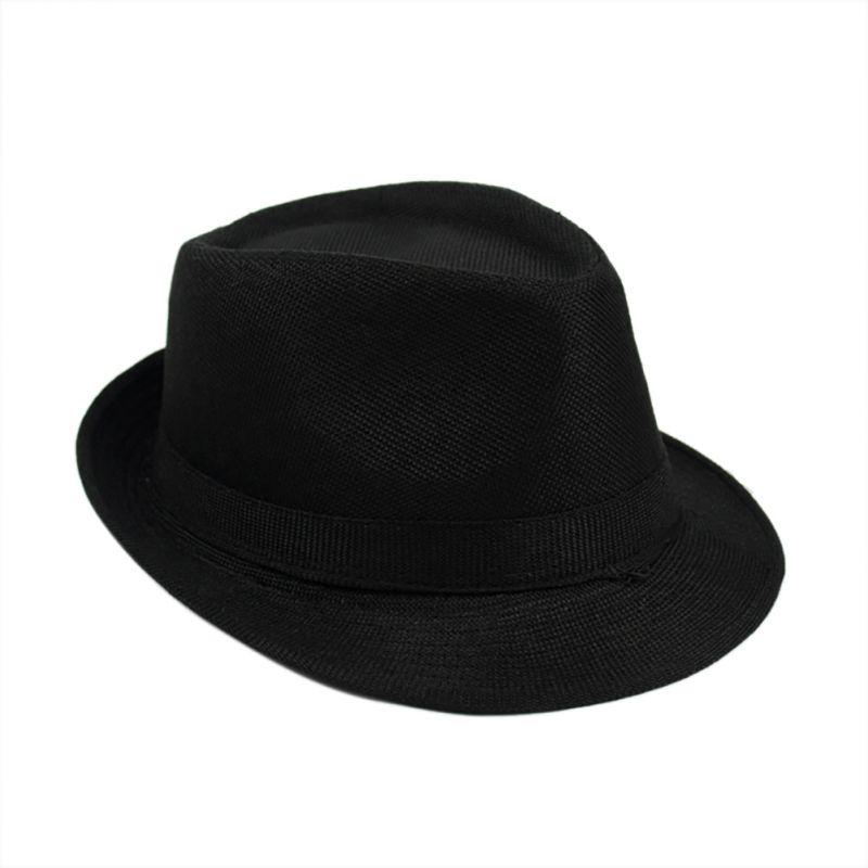 06b1a3e432c Unisex Panama Gangster Trilby Straw Cowboy Jazz Hats Men Women Fedoras  British Australian Beach Sun Hat Gray/Khaki/Blue/Black-in Men's Fedoras  from Apparel ...