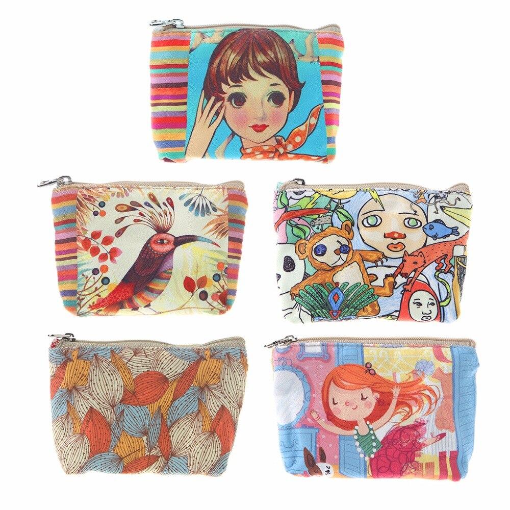 THINKTHENDO 1 PC New Women Girls Cute Zip Canvas Purse Wallet Bag Change Pouch Key Card Holder Coin Wallet