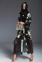 2016 Fashion Muslim Abaya Dubai Islamic Clothing For Women Muslim Abaya Jilbab Djellaba Musulmane High Quality Dress lace abaya