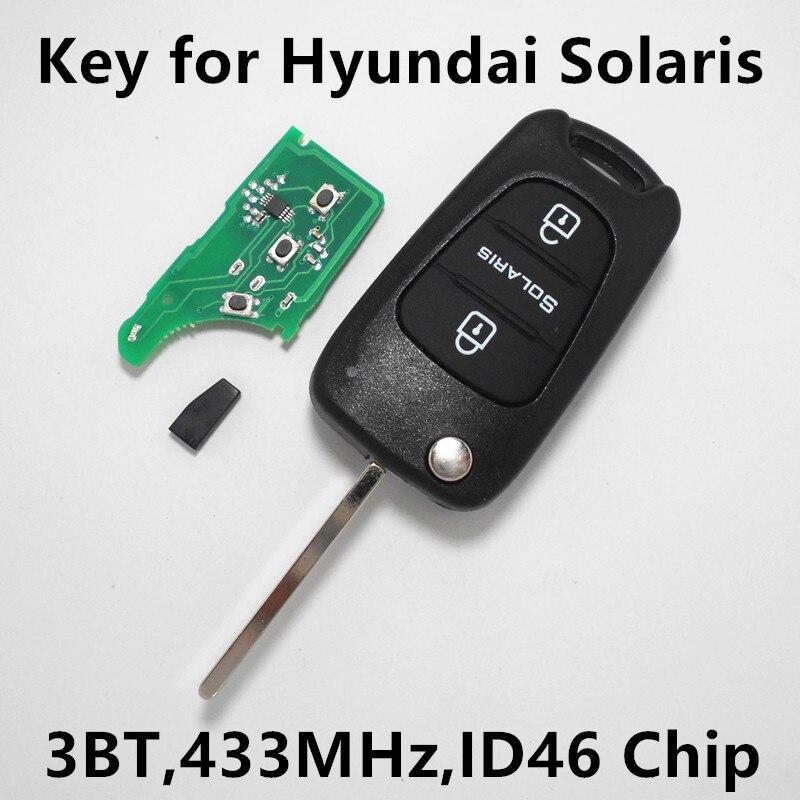 Prix pour Voiture À Distance Clé pour Hyundai SOLARIS 3 Boutons Sans Clé Entrée Fob Contrôleur 433 MHz ID46 Puce