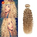 8A Brazilian Kinky Curly Weave Human Hair Honey Blonde Brazilian Curly Virgin Hair 1pcs/lot #27 Blond Brazilian Hair Bundles