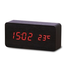 Cuboid Wooden LED Alarm Clocks Temperature Electronic Clock Sounds Control Digital LED Display Desktop Calendar Table clock,4A07 стоимость