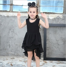 Nova Smoking Vestido da menina, rendas ondulado, vestido sem mangas, vestido de princesa(China)