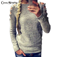 Cova Sophy2017 Autumn Winter Long Sleeve Hollow Out Pullovers O Neck Knitted Fashion Sweaters