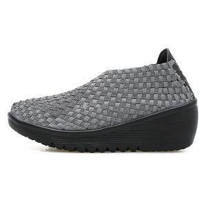 Image 3 - Stq 2020 Herfst Vrouwen Platform Sneakers Schoenen Vrouwen Geweven Platte Schoenen Dikke Hak Gladiator Sandalen Slip Op Platform Schoenen 866