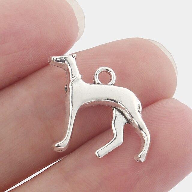 25 pièces Greyhound Whippet chien chien 3D breloques pendentifs perles résultats de bijoux