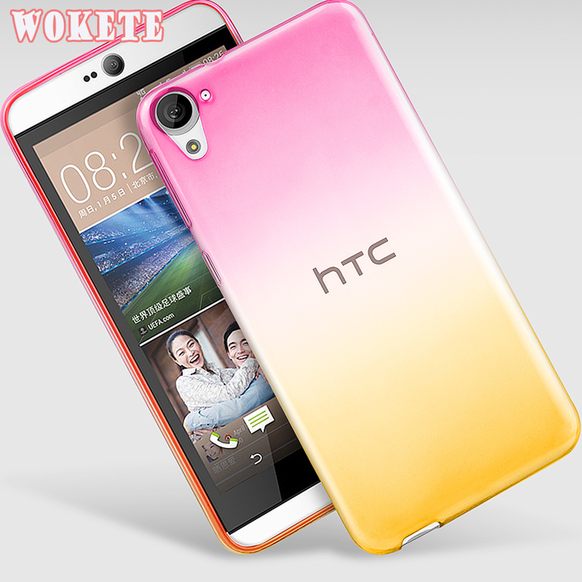 For HTC Skin shell Transparent Soft TPU Gradient Color Back Cover Case For HTC Desire 820
