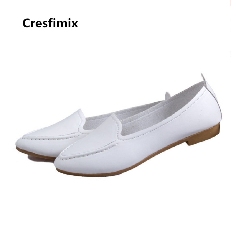 Cresfimix zapatos de mujer women sweet white spring & summer slip on flat shoes lady casual pointed toe flats cute shoes c2430 casual shoes women office ladies shoes lady cute bow tie pointed toe flats female cute spring