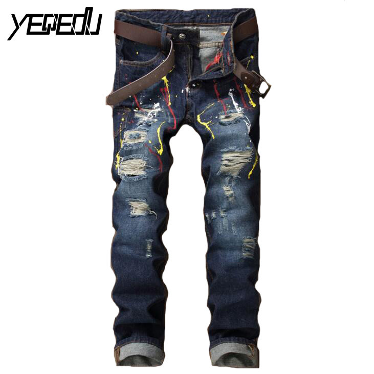 ФОТО #2757 2017 Spring Ink splashing ink Slim fit jeans Ripped jeans men Cheap jeans mens With hole Denim Fashion jean homme