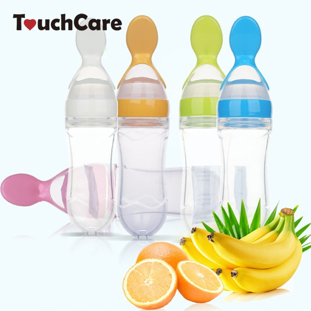 Infant Kids Spoon Baby Feeding Silica Gel Feeding Bottle