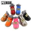 Zapatos para perros de invierno botas de nieve cálidas de piel impermeable 4 unids/set perros pequeños de algodón antideslizantes XS para ChiHuaHua Pug Pet producto PETASIA