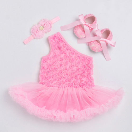 Rose Princess baby Dress Baby Girl Rompers Dresses 3pcs Clothing Sets Newborn Infant One Shoulder Clothes with Shoes Z203