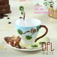 HEIßER verkauf 3D Eichhörnchen Reine handbemalte Emaille Kaffeetasse tasse individualität kreative tassen Paare von kaffee tasse