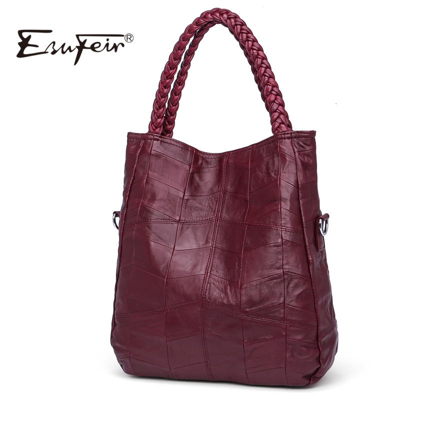 ESUFEIR Brand Genuine Leather Luxury Women Handbag Designer Patchwork Sheepskin Women Bag Fashion Shoulder Bag Casual Tote Bag luxury genuine leather bag fashion brand designer women handbag cowhide leather shoulder composite bag casual totes
