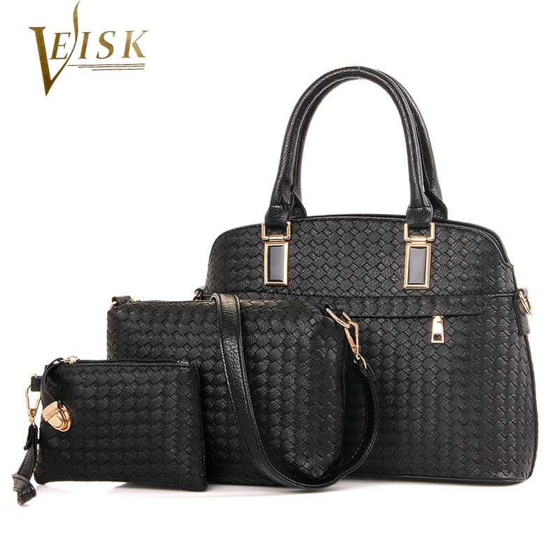 ФОТО Womens Bags  Women Composite PU Leather Weave Shell Top Handle Bag Set for 3 Pieces Women's Handbags