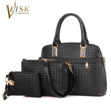 Womens Bags Brand 2016 Women Composite Bags PU Leather Weave Shell Top Handle Bag Set for