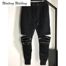 Men Pants 2017 New Fashion Brand Cotton Black Ripped Hip Hop Justin Bieber Knee Folds Zipper Harem Pants Size S-XXL T014