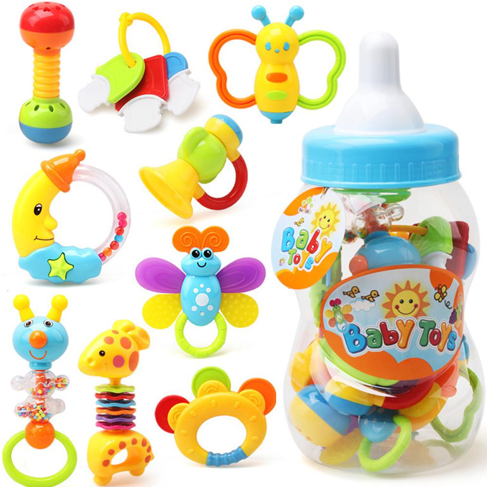 RCtown Baby Toy 0-1 Years Old Children's Hand Music Rattle Guar Spray Bottle Set Of 9