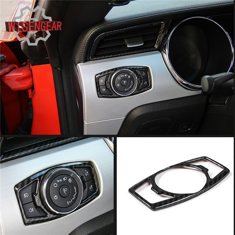 Carbon Fiber Interior Window Switch Lock Cover Trim For Ford Mustang 2015-2018