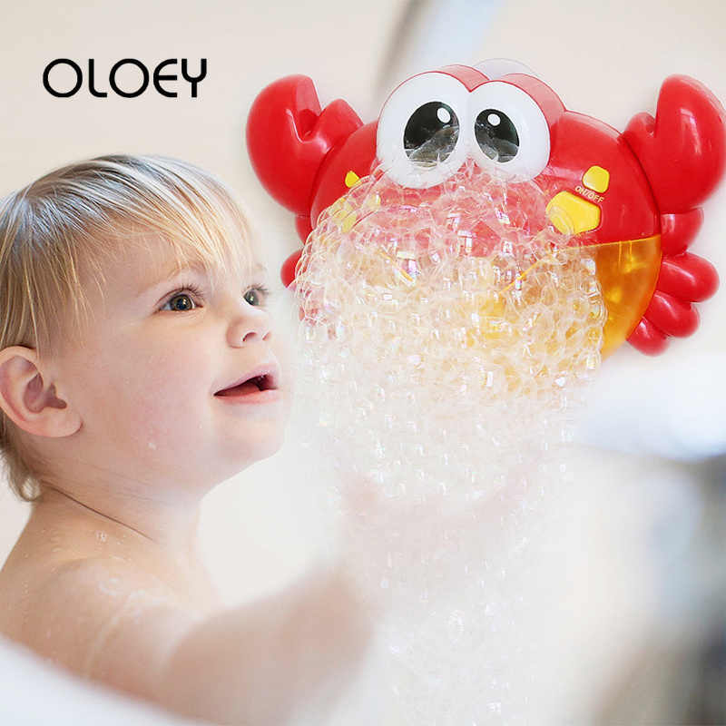 OLOEY Outdoor Blowing Bubble Frog & Crabs Baby Bath Toy Bubble Maker Swimming Bathtub Soap Machine Toy Children Music Water Toys