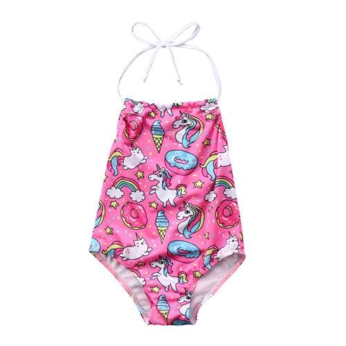3c1865e8846df 2018 New Cute Kids Baby Girl Unicorn Pink One-Piece Bikini Halter Neck  Swimwear Swimsuit Children Summer Beachwear Bathing Suit