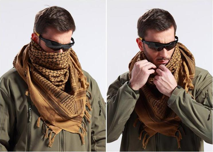 Top 100% Coton D hiver Militaire Army Sniper Voile Écharpe Arabe Musulman  Hijab Shemagh Tactique Chasse Châle Arabe Keffieh Foulards b69f0d868a8
