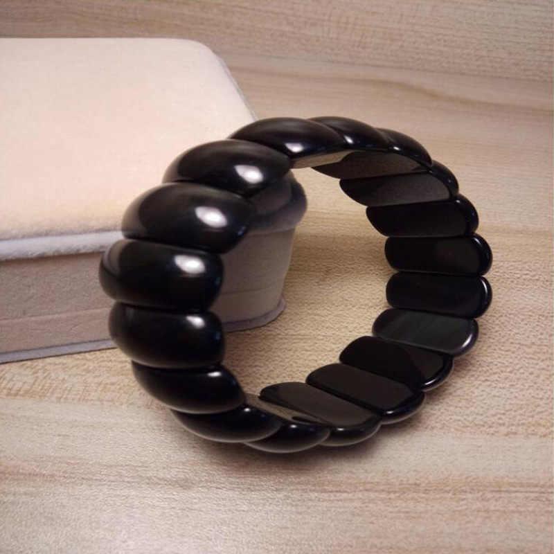 Zwart Natuurlijke Obsidiaan jade Armbanden Kralen Armband voor Mannen Vrouwen Armband Sieraden