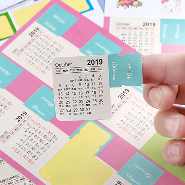 2019 Nuevo Año Calendario tiempo pegatinas DIY decorativo diario pegatinas diario planificador cuadernos papelería pegatinas
