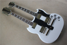 free shipping New Top Quality musical instrument Gold Hardware Double Neck SG EDS1275 White Electric Guitar 1117