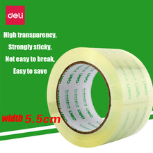 Deli High Strength No Traces Adhesive Sealing tape 5.5cm wide transparent tape express packaging sealing tape high-adhesive tape недорого