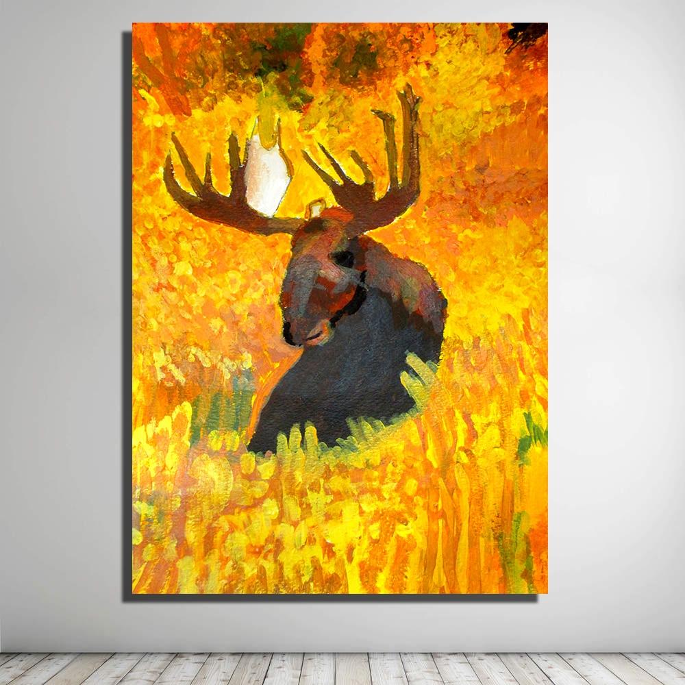ჱHDARTISAN Moose fall Landscape Picture Canvas Print decoration oil ...