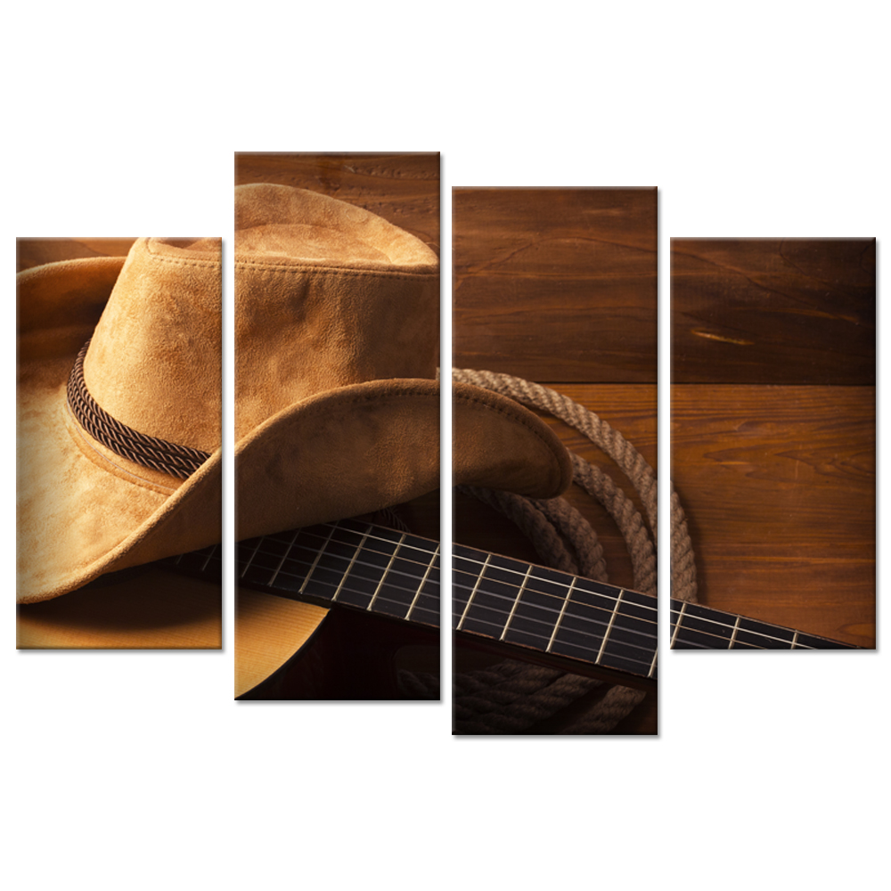 Vintage Canvas Wall Art 4 Panel Guitar Cowboy Hat on Rustic Wood American Country Music Style Picture Painting Print On Canvas