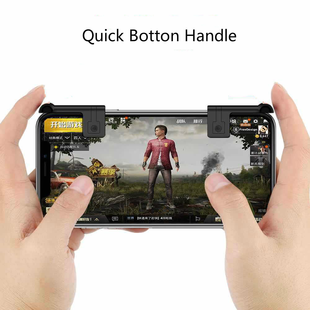 2Pcs Gaming Trigger Fire Button Smart phone Mobile Joysticks Games L1R1 Shooter Controller For PUBG/Rules of Survival/Knives Ou