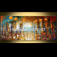 Hand Painted Landscape Abstract art The City Chicago Thick Palette Knife Oil Painting On Canvas Modern Home Decoration Art Room