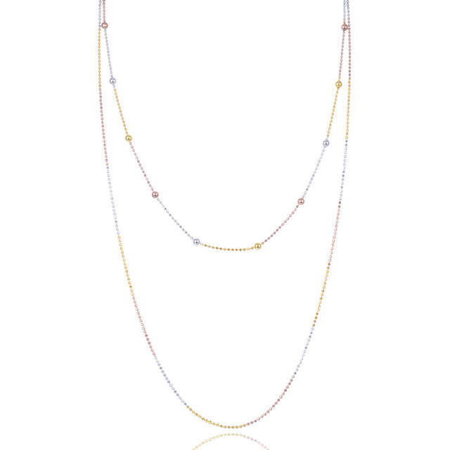 YJL094 New Fashion S925 Sterling Silver Jewelry Double Circles Lady Color 1.2 Flash Beads Trend Women Necklace