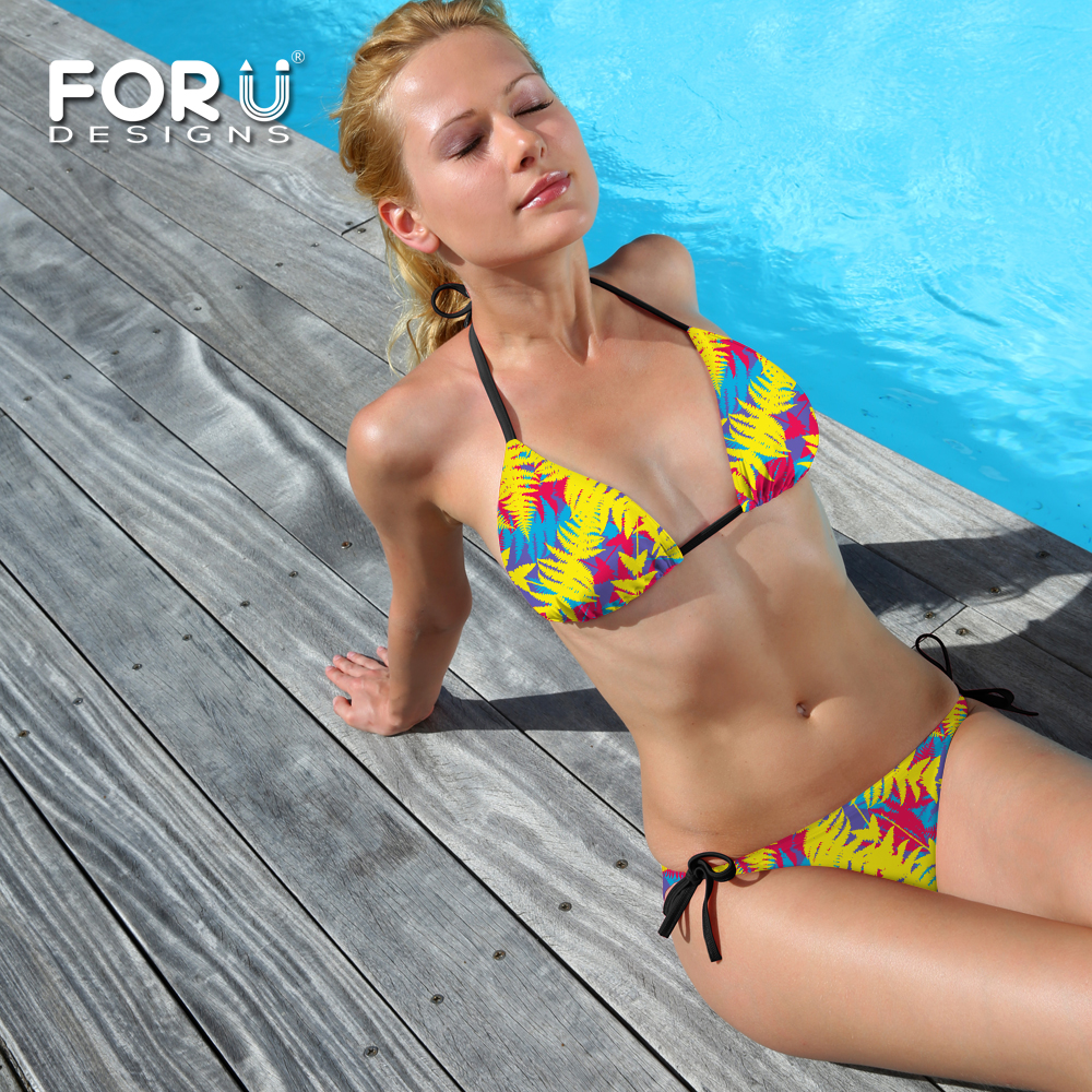 Popular Women Sexy Triangle Bikini Set Beachwear Push Up Padded Bra Bandage Bikini Set Yellow Printed Swimsuit Swimwear New Hot sexy s xl women activing swimwear bikini set push up padded bra swimsuit summer beachwear m30x15