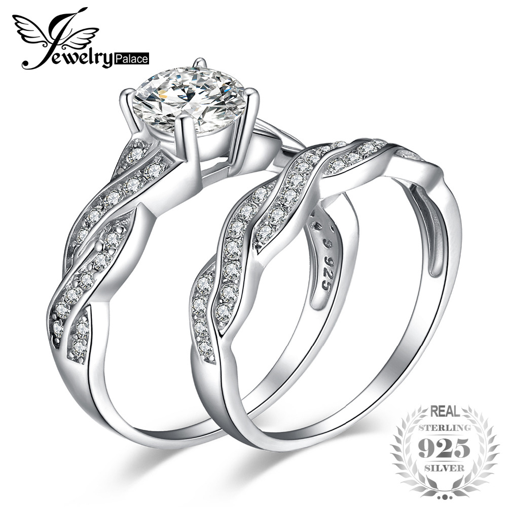 JewelryPalace Infinity 1.5ct Simulated Diamond Anniversary Promise Wedding Band Engagement Ring Bridal Sets 925 Sterling Silver