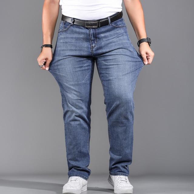 High Quality Stretch Plus Big Size 29 - 44 46 48 90% Cotton Straight Denim Jeans Men Famous Brand 2019 Spring 2
