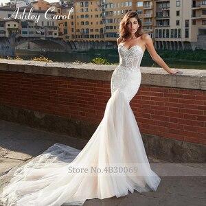Image 4 - Ashley Carol vestido de boda sirena de encaje 2020 romántico vestido de novia encantador sin mangas apliques vestido de novia con la espalda descubierta